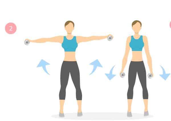 Oefening met gewichten om slappe armen te voorkomen