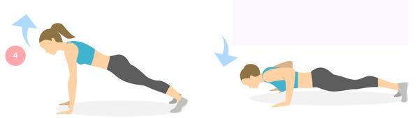 Opdruk oefening om de bovenarmen te verstevigen.