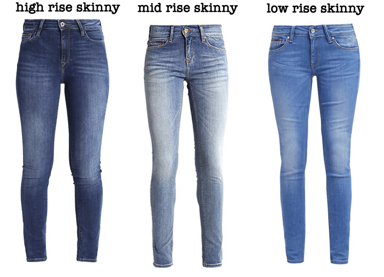 high rise, mid rise en low rise skinny jeans