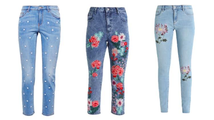 jeans met bloemen