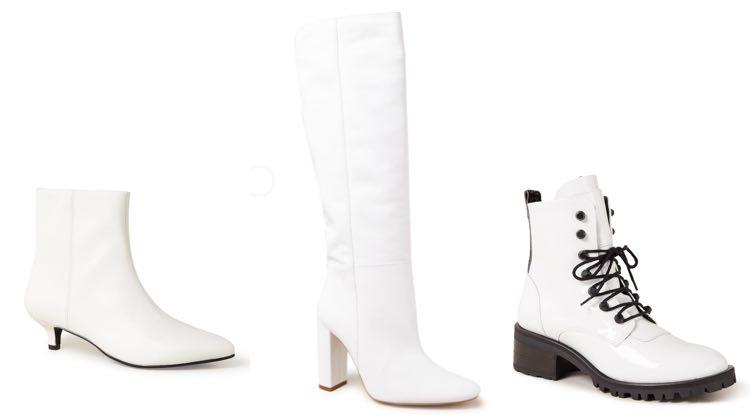 witte laarzen en schoenen