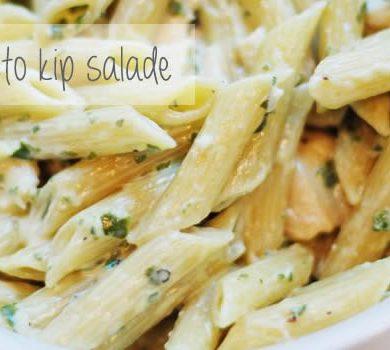 pasta pesto kip salade