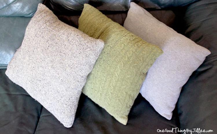kussen maken van trui