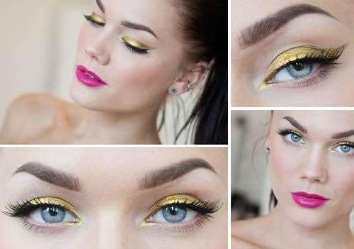 gouden oogschaduw blauwe ogen
