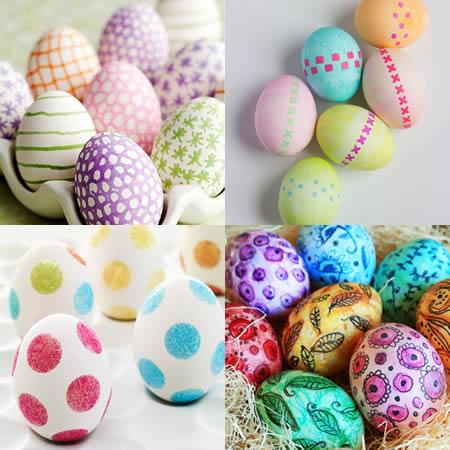versierde eieren met stift stempels